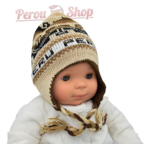 Chapeau peruvien pour bébé réversible couleur beige / marron