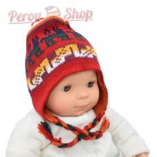 Chapeau peruvien pour bébé réversible avec motifs Inca