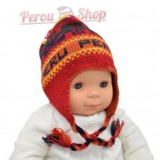 Bonnet péruvien bébé garçon couleur rouge / orange
