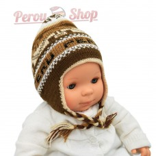 Bonnet péruvien bébé tricot réversible modèle alpagas