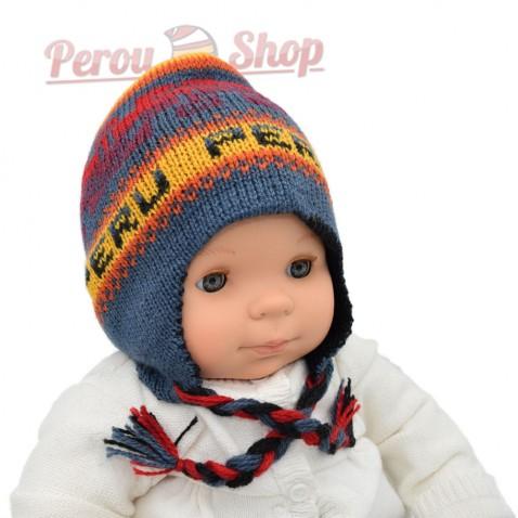 Bonnet Péruvien Bébé Garçon Réversible Modèle Perú Bonnet