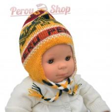Chapeau peruvien pour bébé réversible couleur jaune