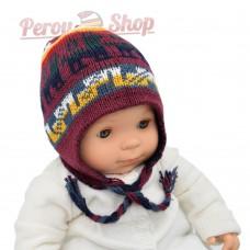 Bonnet peruvien bébé réversible couleur bleu et bordeaux