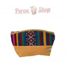 Porte monnaie ethnique multicolore en tissu péruvien modèle Tahuantinsuyo
