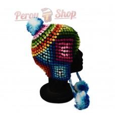 Bonnet Péruvien en laine d'alpaga modèle Montaña de colores