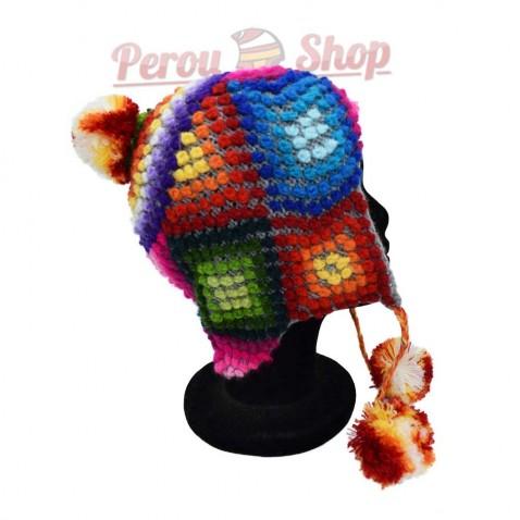 Bonnet Péruvien en laine d'alpaga modèle Andes