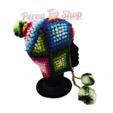 Bonnet Péruvien en laine d'alpaga modèle Soleil Inca