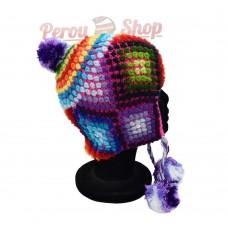 Bonnet Péruvien en laine d'alpaga modèle Misti
