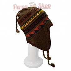 Bonnet péruvien doublé polaire en laine d'alpaga couleur marron