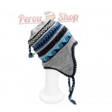 Bonnet péruvien doublé polaire en laine d'alpaga couleur gris