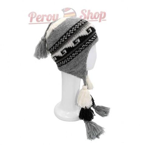 Bonnet Péruvien avec pompon tricolore gris