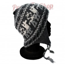 Bonnet Péruvien gris en laine d'alpaga