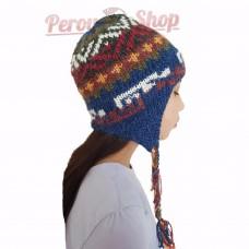 Bonnet péruvien enfant en laine d'alpaga couleur bleu