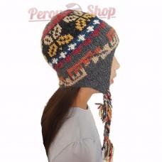 Bonnet péruvien enfant en laine d'alpaga couleur gris