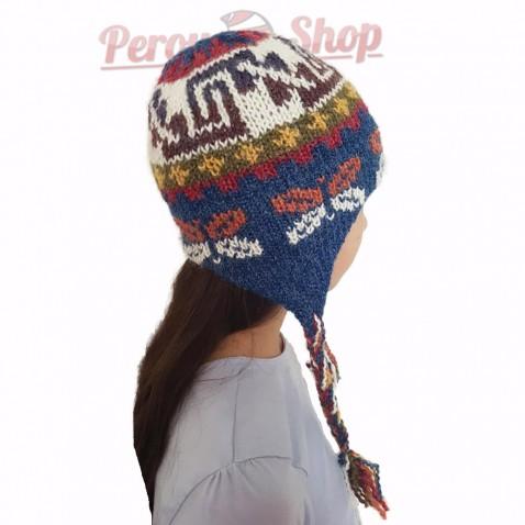 Bonnet péruvien enfant en laine d'alpaga modèle papillon