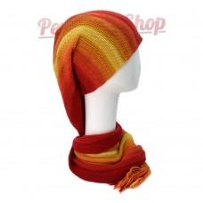Echarpe bonnet en alpaga couleur rouge et jaune