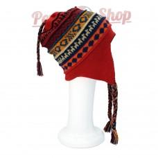 Bonnet Péruvien réversible en laine d'alpaga modèle Souverain Inca