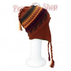 Bonnet Péruvien réversible en laine d'alpaga modèle Tiahuanaco