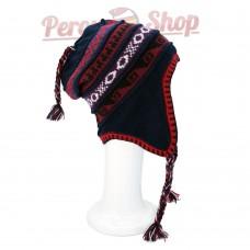 Bonnet Péruvien réversible en laine d'alpaga couleur bleu