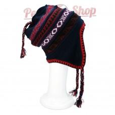Bonnet Péruvien réversible en laine d'alpaga modèle Inca
