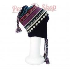 Bonnet Péruvien réversible en laine d'alpaga modèle Inti