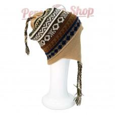 Bonnet Péruvien réversible en laine d'alpaga modèle Montagne Inca