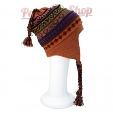 Bonnet Péruvien réversible en laine d'alpaga couleur orange multicolore