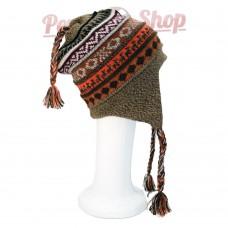 Bonnet Péruvien réversible en laine d'alpaga modèle Andino