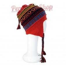 Bonnet Péruvien réversible en laine d'alpaga modèle Peru