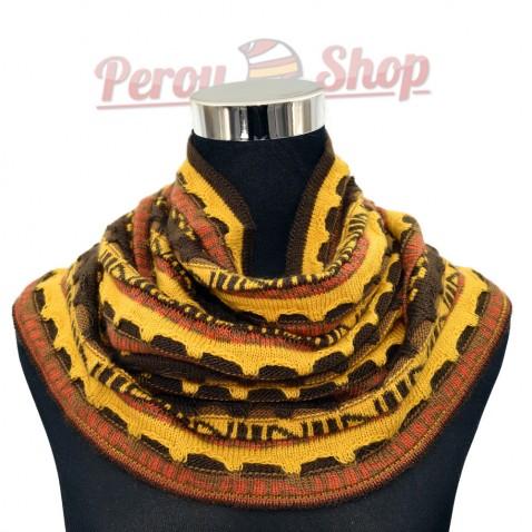 Tour de cou ou snood andin en laine d'alpaga modèle Ampato