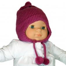 Bonnet péruvien pour bébé fuschia
