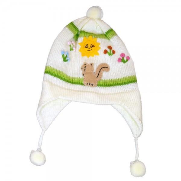 joli bonnet p ruvien en laine avec pompon pour b b. Black Bedroom Furniture Sets. Home Design Ideas