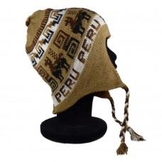 Bonnet Péruvien réversible marron clair