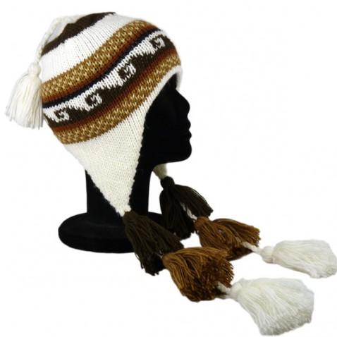 Bonnet Péruvien avec pompon tricolore marron