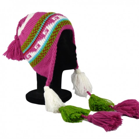 Bonnet Péruvien avec pompon tricolore fuschia