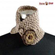 Tour de cou ou snood andin en laine d'alpaga marron