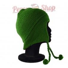 Bonnet péruvien modèle pompon vert