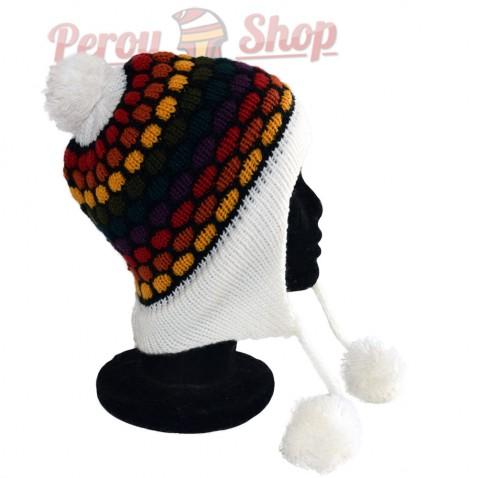 Bonnet péruvien modèle pompon blanc