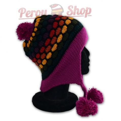 Bonnet péruvien modèle pompon violet