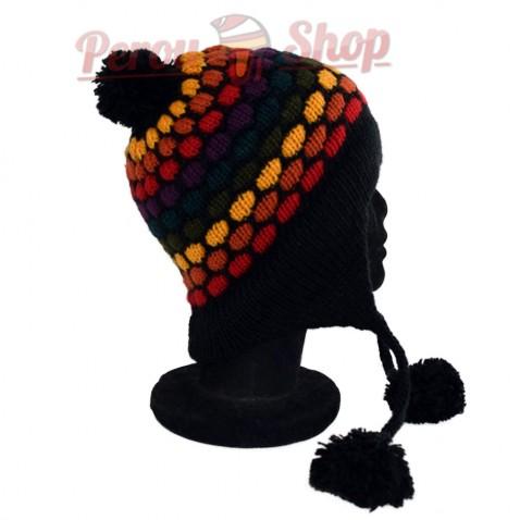 Bonnet péruvien modèle pompon noir multicolore