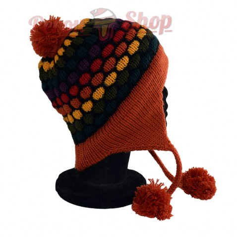 Bonnet péruvien modèle pompon orange