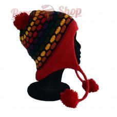 Bonnet péruvien modèle pompon rouge