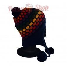 Bonnet péruvien modèle pompon bleu