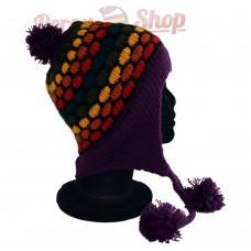 Bonnet péruvien modèle pompon violet foncé