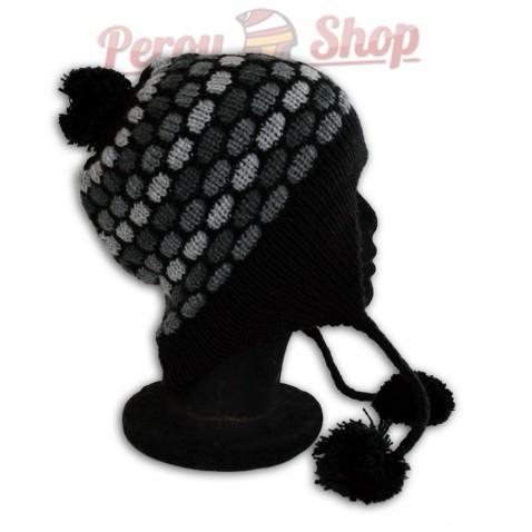 Bonnet péruvien modèle pompon noir
