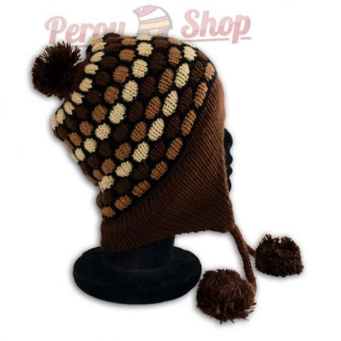 Bonnet péruvien modèle pompon marron
