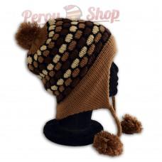 Bonnet Péruvien modèle Pompon marron clair