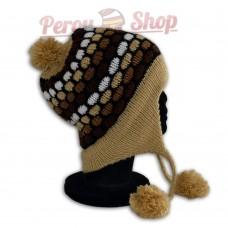 Bonnet Péruvien modèle pompon beige