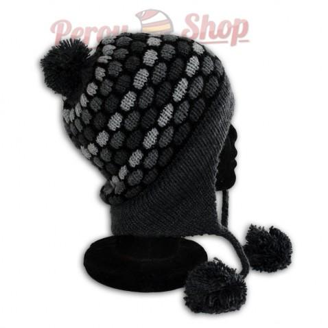 Bonnet péruvien modèle pompon gris