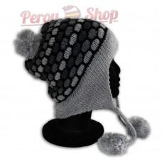 Bonnet péruvien modèle pompon gris clair
